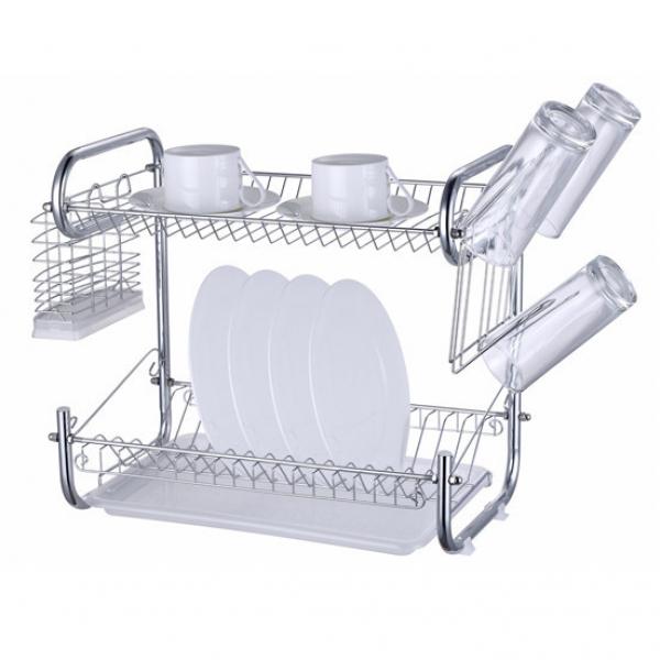 0765 Сушилка для посуды двухъярусная 55*25*41 см с поддоном