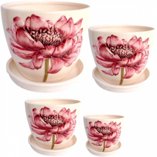 647-006 Набор цветочных горшков Розовый пион 4 шт.
