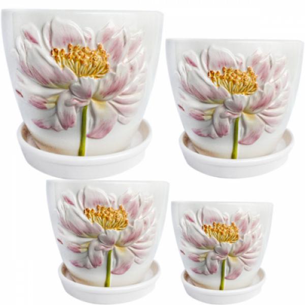 647-002 Набор цветочных горшков Белый пион 4 шт.