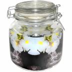6141 Емкость для сыпучих на зажиме 1,1 л Белые цветы