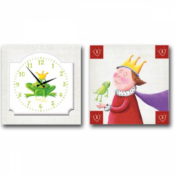 06-103 Часы настенные на холсте 2х секционные Царевна-лягушка