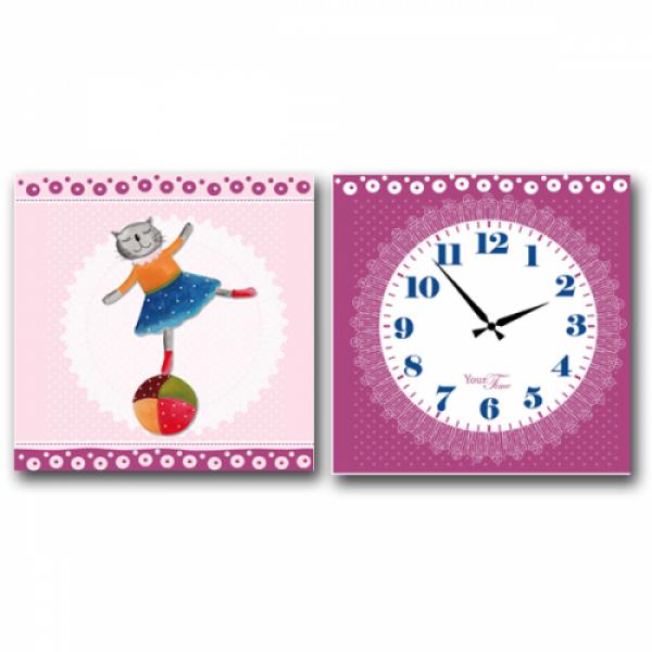 06-107 Часы настенные на холсте 2х секционные Балерина