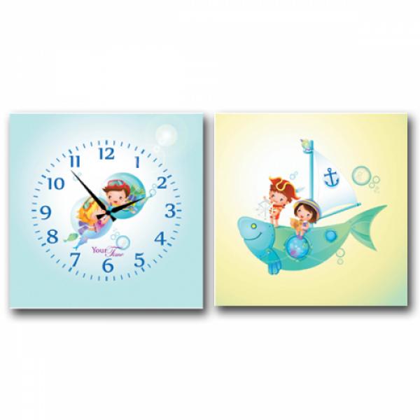 06-112 Часы настенные на холсте 2х секционные Моряки