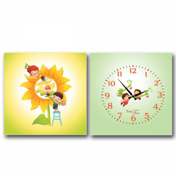 06-113 Часы настенные на холсте 2х секционные Друзья