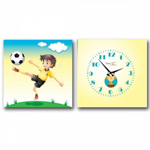 06-116 Часы настенные на холсте 2х секционные Футболист