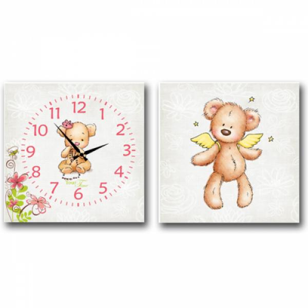 06-110 Часы настенные на холсте 2х секционные Мишка