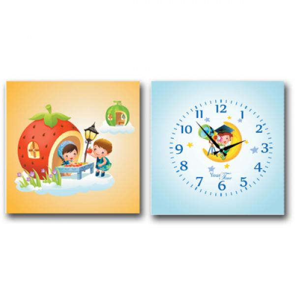 06-102 Часы настенные на холсте 2х секционные Астронавт