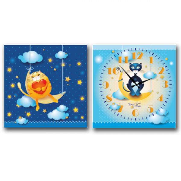 06-105 Часы настенные на холсте 2х секционные Кот