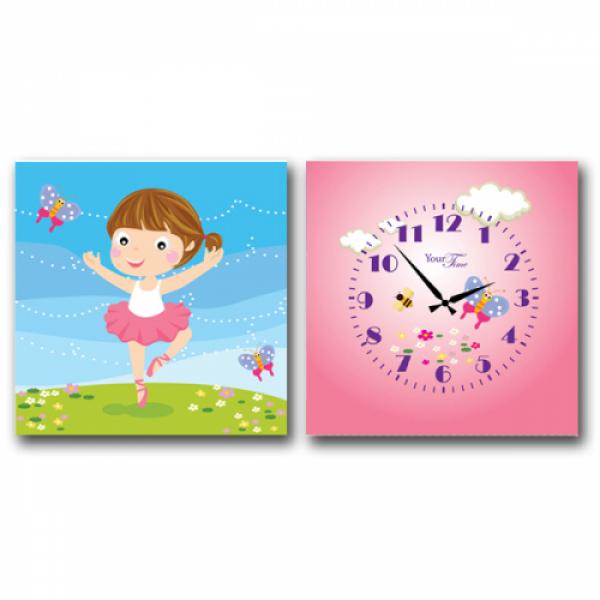 06-100 Часы настенные на холсте 2х секционные Балерина