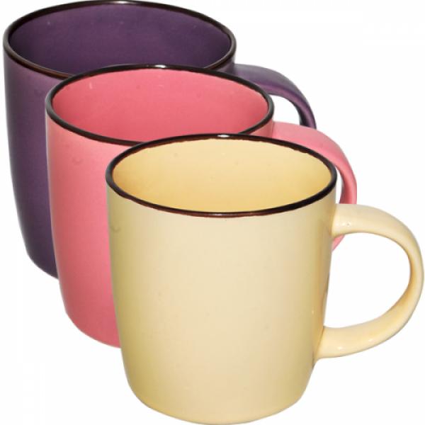 4162-3 Чашка 380 мл Микс коричневый ободок