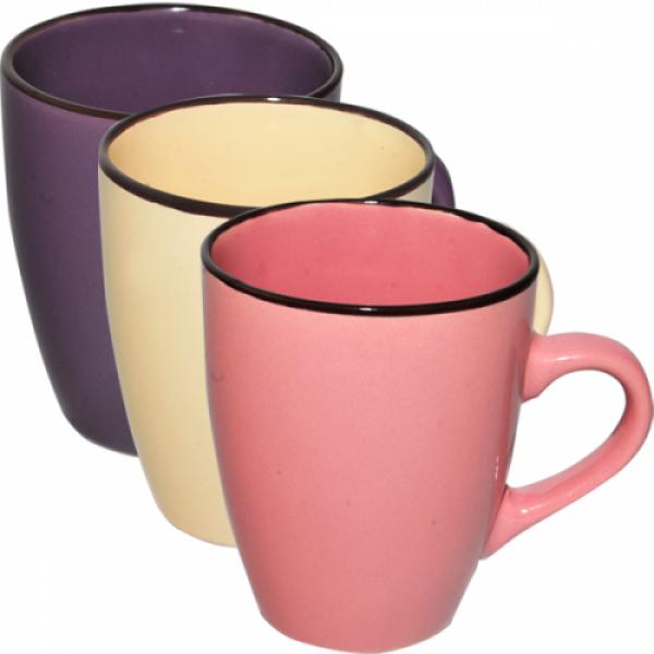 4163-3 Чашка 400 мл Микс коричневый ободок