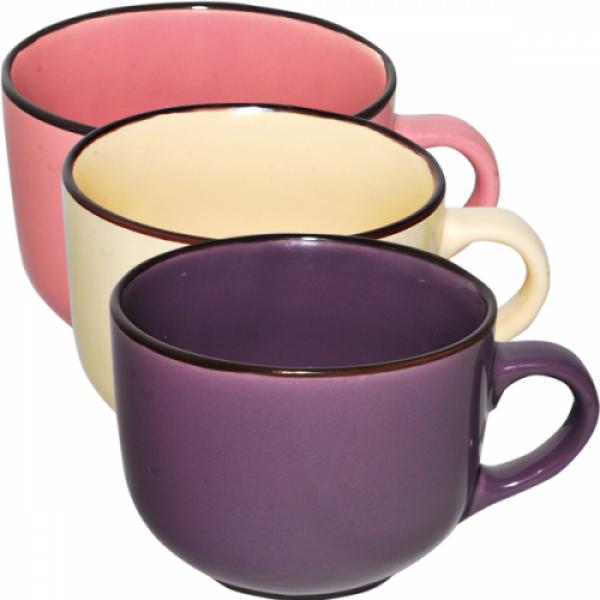 4168-3 Чашка 540 мл Микс коричневый ободок